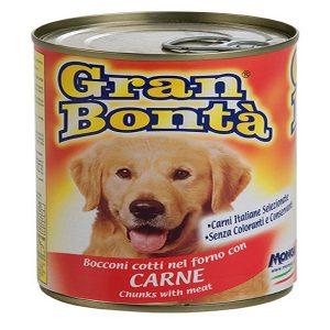 کنسرو غذای سگ gran bonta حاوی تکه های گوشت